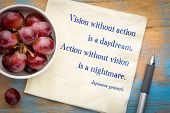 Vision without action is a daydream. Action without vision is a nightmare. Japanese proverb. Handwriting on a napkin with grapes. poster