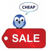 Comical sale items going cheap isolated on white background poster
