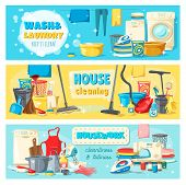 Laundry and wash, house cleaning and housework banners. Equipment and tools for domestic chores and chemical means to clean rooms. Washing machine, vacuum cleaner, iron and cleaning supplies vector poster