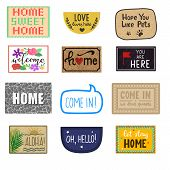 Home mat vector welcome doormat of front house entrance and doorway matting rug for visitors illustration household set of homecoming enter decoration isolated on white background. poster