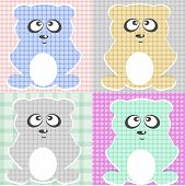 Very Cute Teddy Bear set elements for greeting scrapbook poster