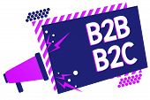 Text sign showing B2B B2C. Conceptual photo two types for sending emails to other people Outlook accounts Megaphone loudspeaker purple striped frame important message speaking loud poster