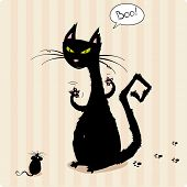 Funny black cat scaring little mouse poster