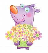 Violet Smiling bear which congratulate with a flowers. A vector illustration on a white background poster