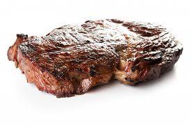 Roasted Rib-eye Beef Steak Isolated On White Background