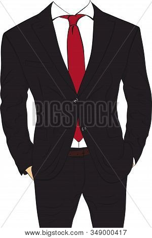 Business Suit Without Head Isolated On White Background. Businessman Body Without Head Vector Illust