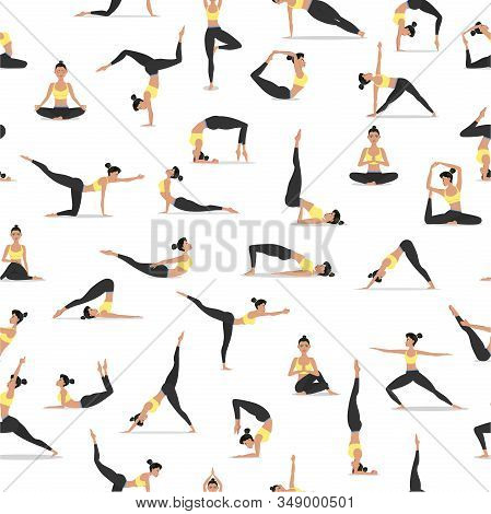 Yoga Asanas On White Background. Young Attractive Girl In Sportswear Practicing Yoga Seamless Patter