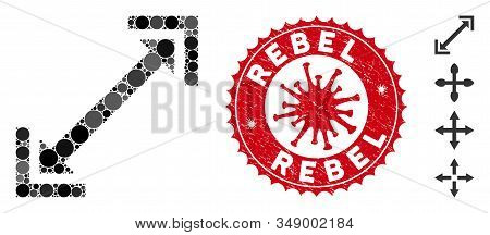 Mosaic Scalability Icon And Red Rounded Grunge Stamp Seal With Rebel Text And Coronavirus Symbol. Mo