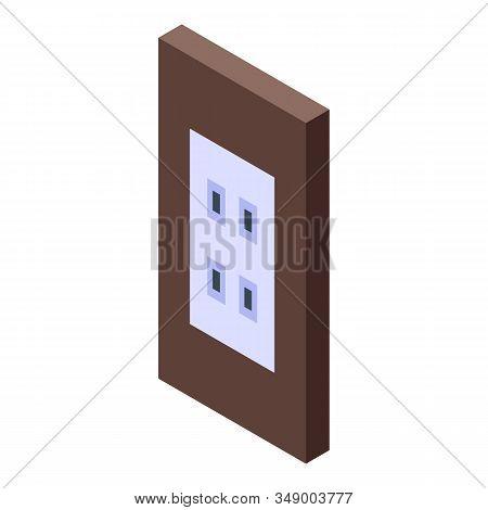 Wood Frame Power Socket Icon. Isometric Of Wood Frame Power Socket Vector Icon For Web Design Isolat