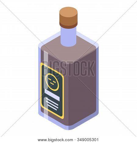Whiskey Bottle Icon. Isometric Of Whiskey Bottle Vector Icon For Web Design Isolated On White Backgr