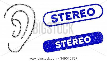 Mosaic Hear And Rubber Stamp Seals With Stereo Text. Mosaic Vector Hear Is Designed With Random Rect