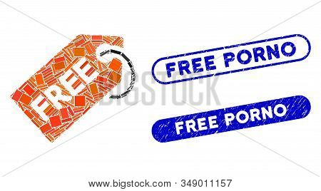 Mosaic Free Tag And Rubber Stamp Seals With Free Porno Phrase. Mosaic Vector Free Tag Is Designed Wi