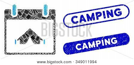Mosaic Camping Calendar Day And Grunge Stamp Seals With Camping Phrase. Mosaic Vector Camping Calend