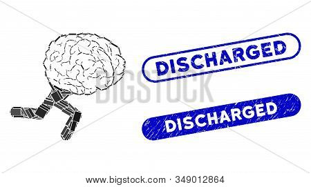 Mosaic Running Brain And Rubber Stamp Seals With Discharged Text. Mosaic Vector Running Brain Is Com