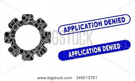 Mosaic Gear And Distressed Stamp Seals With Application Denied Phrase. Mosaic Vector Gear Is Designe