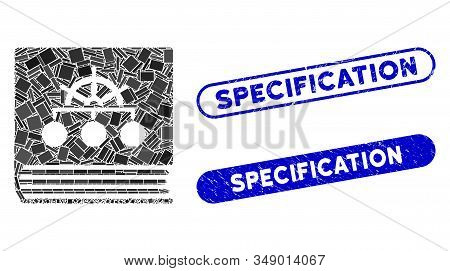 Mosaic Ship Guide Book And Distressed Stamp Seals With Specification Text. Mosaic Vector Ship Guide