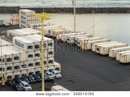 Hilo, Hawaii, Usa. - January 14, 2020: Ocean Port. Stacks Of White And Blue Matson Shipping Containe