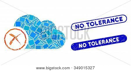 Collage Erase And Rubber Stamp Seals With No Tolerance Caption. Mosaic Vector Erase Is Created With