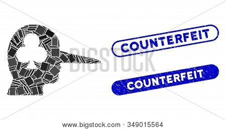 Mosaic Gambling Jerk And Corroded Stamp Seals With Counterfeit Caption. Mosaic Vector Gambling Jerk