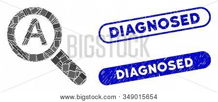 Mosaic Zoom Auto Scale And Distressed Stamp Watermarks With Diagnosed Phrase. Mosaic Vector Zoom Aut