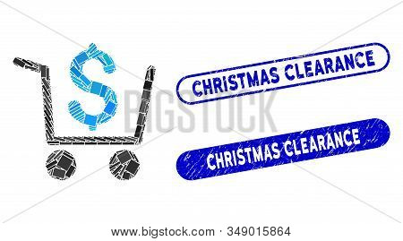 Collage Checkout And Grunge Stamp Watermarks With Christmas Clearance Caption. Mosaic Vector Checkou