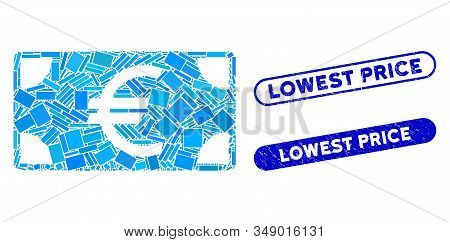 Mosaic Euro Banknote And Rubber Stamp Seals With Lowest Price Phrase. Mosaic Vector Euro Banknote Is