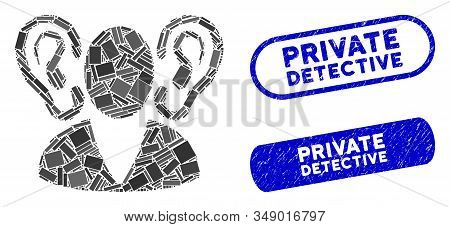 Mosaic Listener And Corroded Stamp Seals With Private Detective Phrase. Mosaic Vector Listener Is Fo