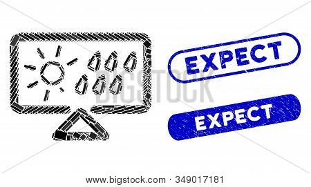 Mosaic Weather Forecast Display And Grunge Stamp Watermarks With Expect Caption. Mosaic Vector Weath
