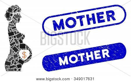 Mosaic Surrogate Mother And Distressed Stamp Seals With Mother Caption. Mosaic Vector Surrogate Moth