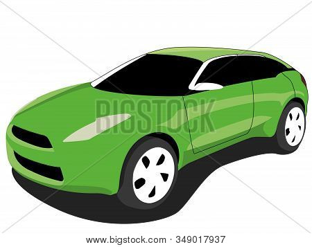 Crossover Car Green Realistic Vector Illustration Isolated