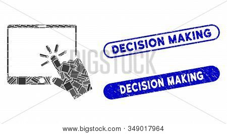 Mosaic Click Mobile Tablet And Rubber Stamp Seals With Decision Making Phrase. Mosaic Vector Click M