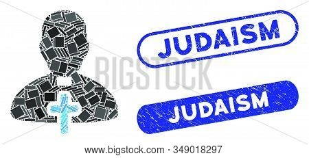 Mosaic Catholic Priest And Grunge Stamp Seals With Judaism Phrase. Mosaic Vector Catholic Priest Is