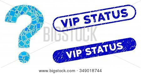 Mosaic Status And Distressed Stamp Watermarks With Vip Status Caption. Mosaic Vector Status Is Forme