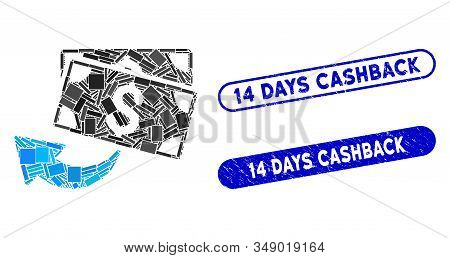 Collage Cashback And Corroded Stamp Seals With 14 Days Cashback Text. Mosaic Vector Cashback Is Comp