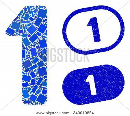 Mosaic 1 Digit And Distressed Stamp Seals With 1 Text. Mosaic Vector 1 Digit Is Designed With Random