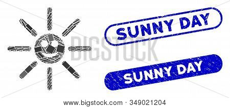 Mosaic Happy Sun Rays And Rubber Stamp Seals With Sunny Day Text. Mosaic Vector Happy Sun Rays Is Cr