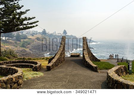 Kiama, Australia - December 19, 2019: The Lookout Viewing Platform By The Little Blowhole, At Tingir