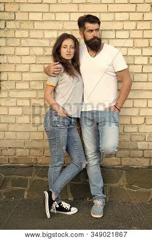 Mutual Romance. Sensual Woman And Bearded Man Enjoying Romance In Relationship. Romantic Couple In L