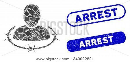 Mosaic Captured Man And Rubber Stamp Seals With Arrest Caption. Mosaic Vector Captured Man Is Compos