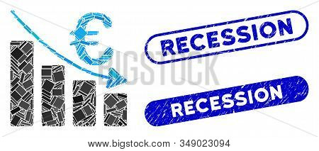 Collage Euro Recession Bar Chart And Corroded Stamp Seals With Recession Caption. Mosaic Vector Euro