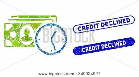 Mosaic Credit And Corroded Stamp Seals With Credit Declined Text. Mosaic Vector Credit Is Created Wi
