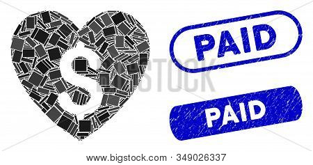 Mosaic Paid Love And Grunge Stamp Seals With Paid Caption. Mosaic Vector Paid Love Is Designed With