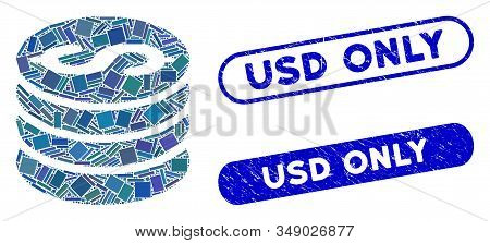 Mosaic Dollar Coins And Corroded Stamp Seals With Usd Only Caption. Mosaic Vector Dollar Coins Is Cr
