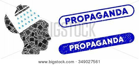 Mosaic Propaganda Brain Shower And Grunge Stamp Seals With Propaganda Phrase. Mosaic Vector Propagan
