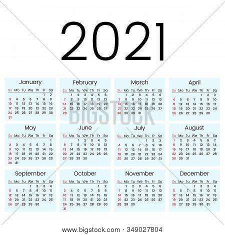 2012 Simple Calendar. Calendar Grid. The Week Starts On Sunday. Flat Vector Illustration Isolated On