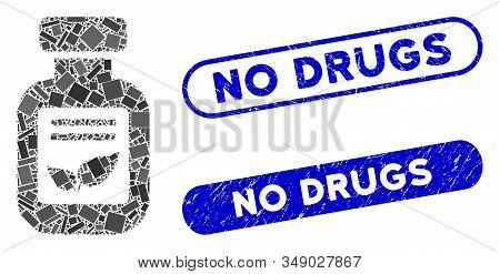 Mosaic Natural Drugs Vial And Grunge Stamp Watermarks With No Drugs Caption. Mosaic Vector Natural D