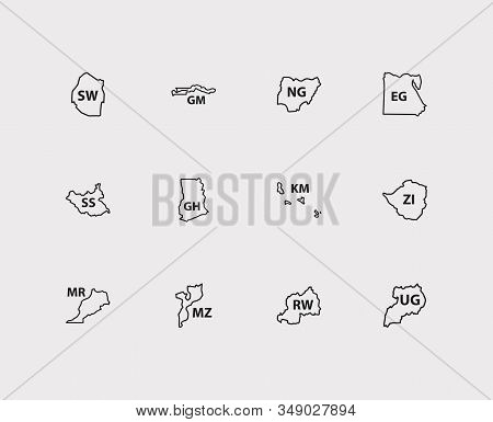 Cartography Icons Set. Comoros And Cartography Icons With Uganda, Rwanda, Morocco. Set Of The For We