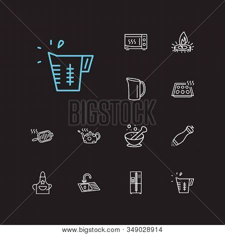 Kitchenware Icons Set. Pepper Mill And Kitchenware Icons With Gas Burner, Baking Sheet And Water Jug
