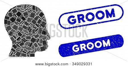 Mosaic User Head And Rubber Stamp Watermarks With Groom Caption. Mosaic Vector User Head Is Composed