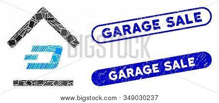 Collage Dash Garage And Distressed Stamp Seals With Garage Sale Phrase. Mosaic Vector Dash Garage Is